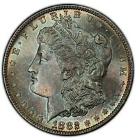 1882-S MORGAN SILVER DOLLAR PCGS MINT STATE 65 BEAUTIFUL COLOR TONED COIN WITH TRUEVIEW