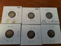 12 LOWER GRADE SEATED LIBERTY HALF DIMES SOME  MINT MARKS