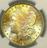 1896-P MORGAN DOLLAR   NGC MINT STATE 64  RICH COLORFUL TONING -WONDERFUL LUSTER