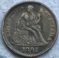 1891 O SEATED LIBERTY DIME F-106A, TOP 10096 REPUNCHED DATE & MINTMARK