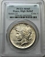 1921 PEACE SILVER DOLLAR PCGS MS65 HIGH RELIEF
