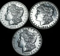 3 X MORGAN DOLLARS DATED 1879. 1890, 1896   ALL IN EXCELLENT DETAILS  A36-695