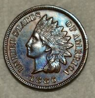 BRILLIANT UNCIRCULATED 1886 TYPE 2 INDIAN HEAD CENT  BEAUTIF
