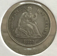 1872   SEATED LIBERTY HALF DIME   CENT 5 US COIN   COINAGE A