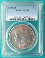 1898-O MORGAN SILVER DOLLAR PCGS MINT STATE 63 CERTIFIED - NEW ORLEANS MINT