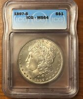 1897-S MORGAN SILVER DOLLAR ICG MINT STATE 64