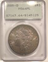 1885-O MORGAN SILVER DOLLAR PCGS MINT STATE 64PL RATTLER HOLDER TONED BOTH SIDES