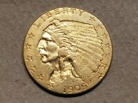 1909 $2.50 GOLD INDIAN HEAD QUARTER EAGLE 2 1/2 DOLLAR ABOUT UNCIRCULATED AU