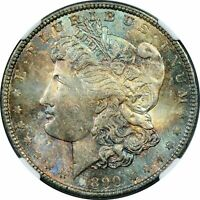 1890 MORGAN SILVER ONE DOLLAR NGC MINT STATE 63 BU COLOR TONED COIN IN HIGH GRADE