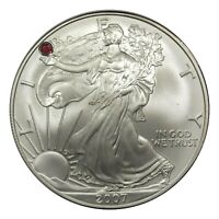 US SILVER EAGLE WITH A BEAUTIFUL RED RUBY SET IN LIBERTY'S HAND CUSTOM MADE