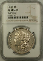 1893-S MORGAN SILVER DOLLAR $1 NGC AU DETAILS CLEANED KEY DATE
