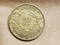 1921 TUNISIA 50 CENTIMES FRENCH COLONIAL TUNISIAN PROTECTORATE COIN NICE