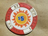 SUNCOAST $5 POKER CASINO CHIP LAS VEGAS NEVADA FIVE DOLLAR CASINO CHIP