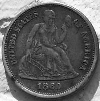1860 SEATED LIBERTY DIME 10C CRUSTY ORIGINAL TOUGHER PHILLY DATE
