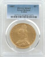 1887 QUEEN VICTORIA JUBILEE HEAD 5 FIVE POUND SOVEREIGN GOLD COIN PCGS MS62