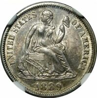 1889 SEATED LIBERTY DIME NGC MINT STATE 61  COOL DIE CLASHING LOOK