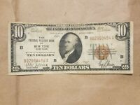1929 $10 FEDERAL RESERVE BANK NOTE NEW YORK FRBN NATIONAL FR 1860 B FINE VF