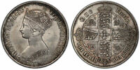 GR BRITAIN VICTORIA  1853 AR GOTHIC FLORIN TWO SHILLINGS. PCGS MS63. SCBC 3891.