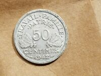 1942 VICHY FRANCE 1/2 FRANC  50 CENTIMES NAZI ALLIED COIN WORLD WAR 2 WWII RELIC