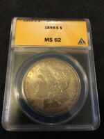 1899 S MORGAN DOLLAR ANACS MINT STATE 62 - UNCIRCULATED - SEMI KEY - CERTIFIED SLAB - $1
