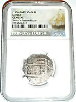 1556 1732 PRINCESS LOUISA 4 REALES SHIPWRECK COIN NGC CERTIFIED EXCELLENT