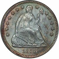 1858 H10C LIBERTY SEATED HALF DIME PCGS MINT STATE 67 CAC