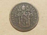 1850 R PAPAL STATES VATICAN CITY 1/2 BAIOCCO COIN ITALIAN ITALY POPE PIUS IX