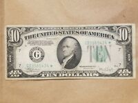 1934 C $10 FEDERAL RESERVE NOTE STAR NOTE CHICAGO FRN FR 2008 G  FINE VF