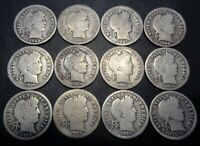 12 DIFFERENT DATE R SET 1902-1916 BARBER/LIBERTY SILVER 10C DIME COIN LOT