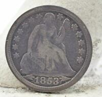 1853P SEATED LIBERTY DIME SHARP DETAILS RAW COIN