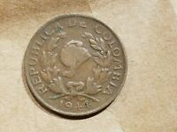 1944 COLOMBIA 5 CENTAVOS COIN WORLD WAR TWO WWII WW2 RELIC NICE