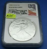 1998 P PROOF SILVER EAGLE .999 NGC PF 69 ULTRA CAMEO SIGNED MIKE CASTLE