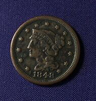 1848 UNITED STATES OF AMERICA BRAIDED HAIR LARGE CENT  COIN VF/EXTRA FINE  GRADE