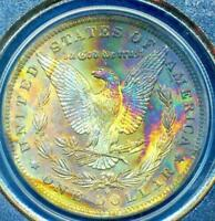 1884-O $1 MORGAN BEAUTIFUL RAINBOW TONING PCGS MINT STATE 63 DR