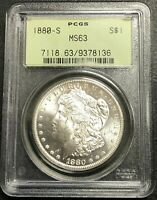 1880-S U.S. MORGAN SILVER DOLLAR  PCGS GRADED MINT STATE 63  OGH $2.95 MAX SHIPPING