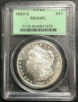 1880-S U.S. MORGAN SILVER DOLLAR  PCGS GRADED MINT STATE 64PL  OGH $2.95 MAX SHIPPING