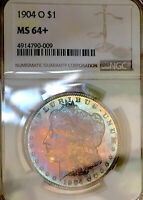 1904 O SILVER MORGAN NGC MINT STATE 64 MONSTER DUAL RAINBOW TONINGWOW DR