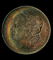 1884-O MORGAN SILVER DOLLAR, NGC MINT STATE 62 CAC, RAINBOW TONED DR