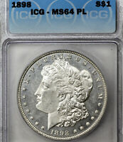 1898-P MINT STATE 64 PL MORGAN SILVER DOLLAR $1, ICG GRADED PROOFLIKE