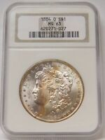 1884-O MORGAN SILVER DOLLAR NGC MINT STATE 63 TONED GEN 8.1