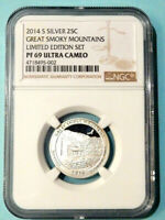 2014 S SILVER PROOF GREAT SMOKY MOUNTAINS QUARTER   LIMITED