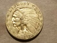 1910 $2.50 GOLD INDIAN HEAD QUARTER EAGLE 2 1/2 DOLLAR ABOUT UNCIRCULATED AU