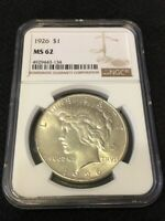 1926 P PEACE DOLLAR NGC MINT STATE 62 - GOOD DATE - UNCIRCULATED - CERTIFIED SLAB - $1