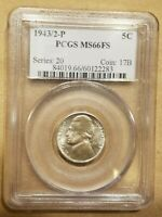 Click now to see the BUY IT NOW Price! 1943/2 P JEFFERSON NICKEL WAR NICKEL 5 CENTS OVERDATE PCGS MS66FS FULL STEPS