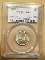 1943/2 P JEFFERSON NICKEL WAR NICKEL 5 CENTS OVERDATE PCGS MS66FS FULL STEPS