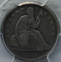 1839 HUGE O SEATED LIBERTY DIME TOP 100 14, PCGS F12, REV OF 38 W/VARIETY LABEL