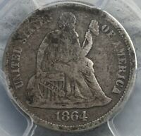 1864 SEATED LIBERTY DIME  CIVIL WAR PHILLY CIRCULATION STRIKE. PCGS VG 8 CAC