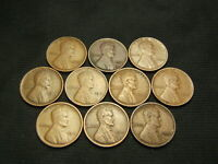 1910,1911,1912,1913,1914,1916,1917,1918,1919,1920  LINCOLN WHEAT CENTS VF/EXTRA FINE