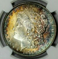 1884 MORGAN NGC MINT STATE 64 SILVER DOLLAR WITH  COLOR TONING