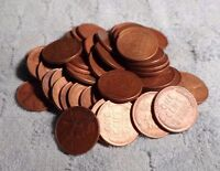 50 WHEAT PENNIES,20 1951P,15 1951D,&15 1952P,CLEANED WITH ELECTROLYSIS